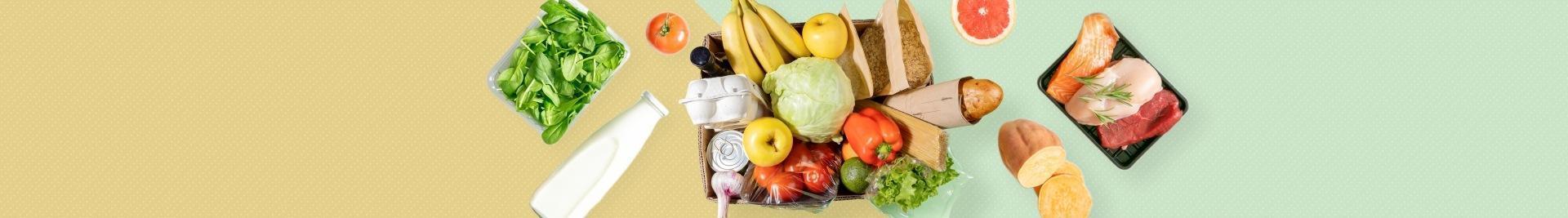 owoce, warzywa, pieczywo, nabiał